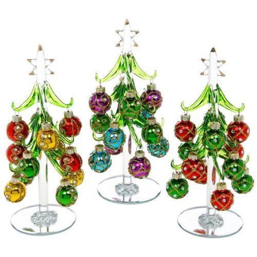 Medium Clear Glass Christmas Trees with Vibrant Jewelled Baubles
